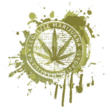 Vector banner for legalize marijuana with hemp leaf on abstract background in form of spots and splashes in grunge style. Natural product made from organic hemp. Smoking weed. Medical cannabis logo Illustration