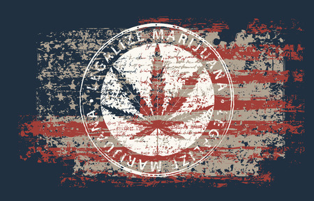 Vector banner for legalize marijuana with hemp leaf on abstract background of american flag in grunge style. Natural product made from organic hemp. Smoking weed. Medical cannabis logo Vettoriali