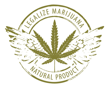 Vector banner for legalize marijuana with cannabis leaf and wings isolated on white background. Natural product of organic hemp. Smoke weed. Medical cannabis logo Illustration