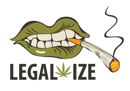 Vector banner with words Legalize marijuana with a human mouth with a joint or a cigarette in his teeth. Smoking weed. Drug consumption Illustration