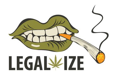 Vektor-Banner mit Worten Legalisieren Sie Marihuana mit einem menschlichen Mund mit einem Gelenk oder einer Zigarette in seinen Zähnen. Unkraut rauchen. Drogenkonsum