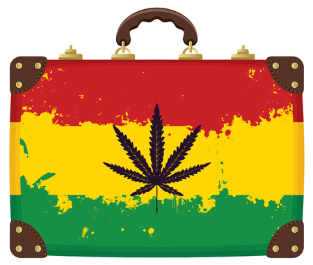 Vector banner for legalize marijuana with Suitcase with Rasta flag pattern and hemp leaf in grunge style. Natural product made from organic hemp. Smoking weed.
