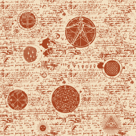 Vector seamless background on the theme of mysticism, magic, religion and the occultism with various esoteric and masonic symbols. Medieval manuscript with sketches, blots and spots in retro style Vektorové ilustrace
