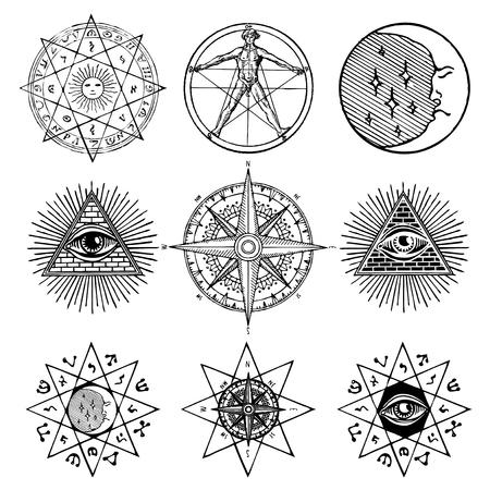백색 마술, 신비로운, 연금술, 신비주의, 밀교, 종교, 흰색 배경에 석공의 주제에 아이콘 및 기호의 벡터 집합입니다. 문신 또는 티셔츠 디자인에 사용할 수 있습니다. 스톡 콘텐츠 - 102277389