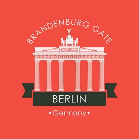Vector travel banner. The famous Brandenburg Gate in Berlin. German national landmark in retro style on red background