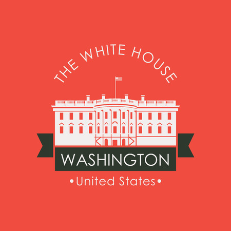 Vector travel banner or logo. The famous presidential residence the White house in Washington DC, USA. American landmark in retro style on red background
