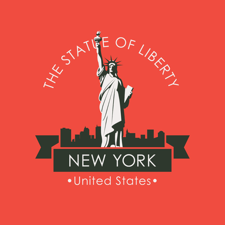 Vector travel banner. Famous American landmark - statue of liberty against the backdrop of the urban landscape with skyscrapers of New York, USA Stockfoto - 102771699