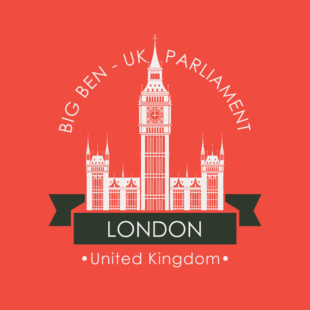 Vector travel banner or logo. The famous Big Ben in London, Palace of Westminster, United Kingdom. UK landmark in retro style on red background Illustration