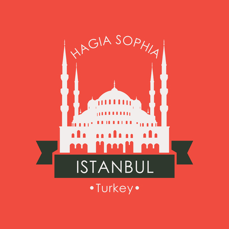 Vector travel banner or logo. The famous Mosque and Museum Hagia Sophia in Istanbul, Turkey. Turkish landmark in retro style on red background