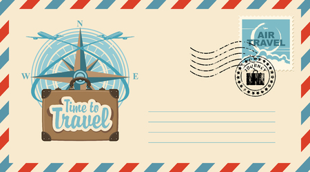 Postal envelope with stamp and rubber stamp. Illustration on the theme of travel with a suitcase, passenger planes against the backdrop of the compass Wind rose and the inscription Time to travel