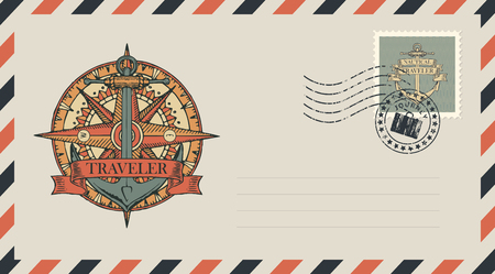 Postal envelope with stamp and rubber stamp. Illustration on the theme of travel, adventure and discovery with a ship anchor, wind rose, old nautical compass and ribbon with word Traveler