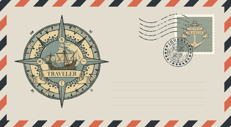 Postal envelope with stamp and rubber stamp. Illustration on the theme of travel, adventure and discovery with vintage sailing ship, planet Earth, wind rose, old nautical compass and the word Traveler