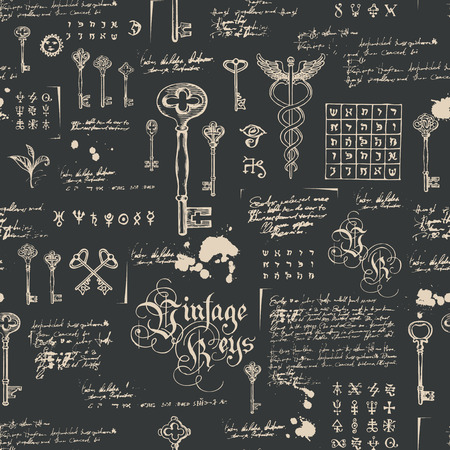 Vector seamless pattern with vintage keys and lettering. Hand drawn illustration. Wallpaper, wrapping paper or background for clothes. Medieval manuscript with sketches, blots and spots in retro style Vettoriali