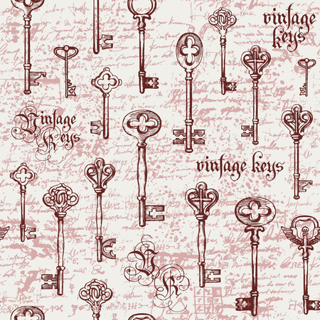 Vector seamless pattern with vintage keys and lettering on the background of old manuscript in retro style. Hand drawn illustration. Gothic font. Wallpaper, wrapping paper or background for clothes