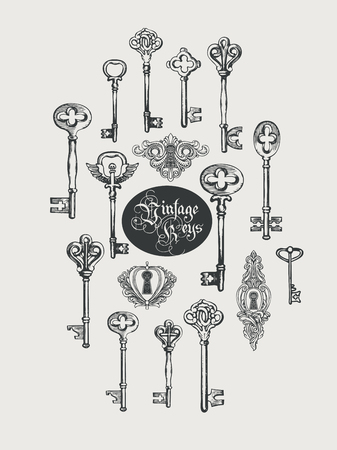 Vector banner with vintage keys, keyholes and lettering in retro style. Gothic font. Hand drawn illustration