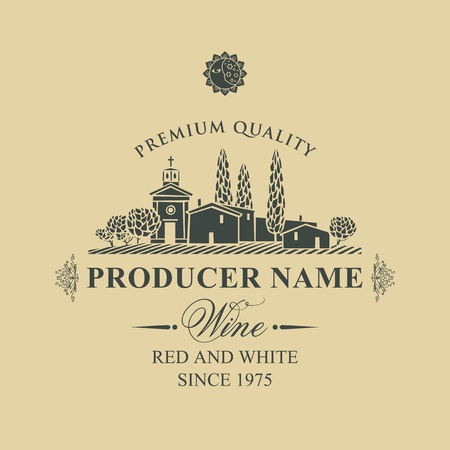 wine label with calligraphic inscription, landscape of vineyards and European village in retro style on beige background