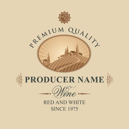 etiqueta para vino con paisaje de viñedos y pueblo italiano en el fondo de la puesta del sol o la luz del sol en el marco oval en estilo retro