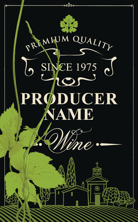 wine label with a landscape of vineyards and European village, calligraphic inscription and green grapevine in retro style on the black background