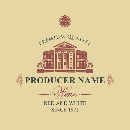 label for red and white wine with image of an old building with statues of lions in retro style