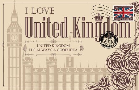 Retro postcard with Big Ben in London, Palace of Westminster, UK. Vector postcard in vintage style with words I love United Kingdom, roses and rubber stamp in form of royal coat of arms  イラスト・ベクター素材
