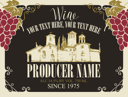 Vector wine label with handwritten inscription, hand-drawn landscape of the European village and bunches of grapes in a frame with curls in retro style