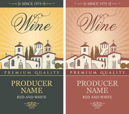 Vector set of labels for red and white wine with a landscape of the Italian village on the background of sunset or sunrise in retro style with a calligraphic inscription,