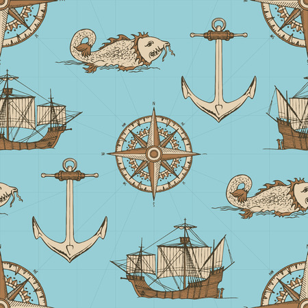 Vector abstract seamless background on the theme of travel, adventure and discovery. Old caravels, vintage sailing yachts, wind roses, anchors and giant catfishes in retro style on blue background Vettoriali