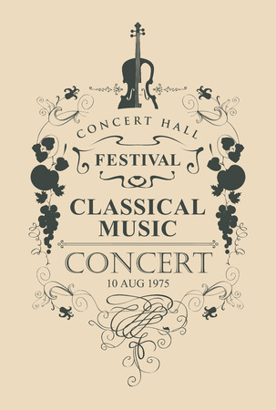 Vector poster for a concert of classical music with place for text, vignette and violin in vintage style on beige background