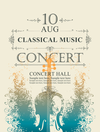 Vector poster for a concert of classical music with place for text on abstract background with violin Stock Illustratie