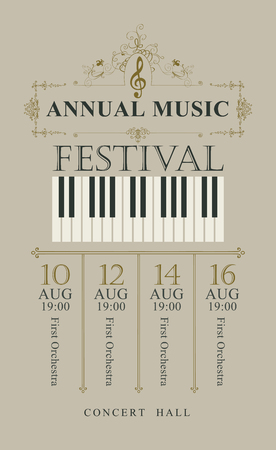Vector poster for the annual festival of classical music in vintage style with piano keys and treble clef