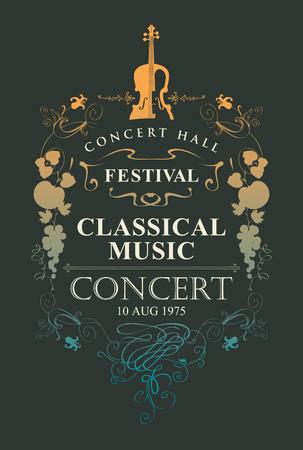 Cartel de vector para un concierto de música clásica con lugar para texto, viñeta y violín en estilo vintage sobre fondo negro