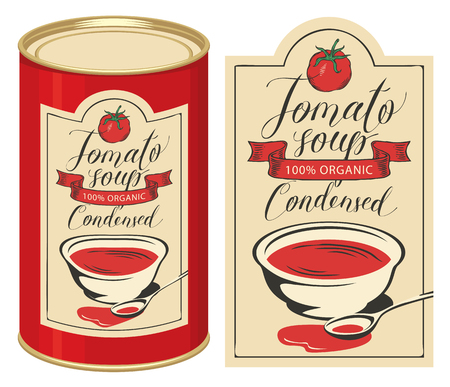 Vector illustration of label for condensed tomato soup with handwritten inscriptions and tin can with this label Illustration