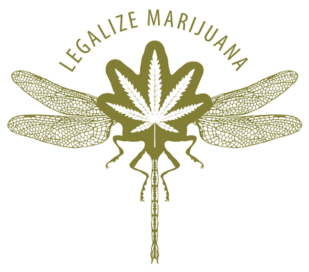 Vector banner for legalize marijuana with cannabis leaf and dragonfly. Natural product of organic hemp. Smoke weed. Medical cannabis logo with abstract insect