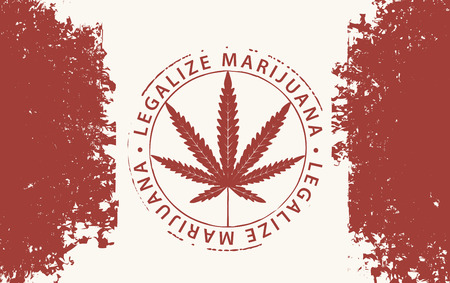 Vektor-Banner für legalisieren Marihuana mit Hanfblatt auf abstraktem Hintergrund der kanadischen Flagge im Grunge-Stil. Naturprodukt aus Bio-Hanf. Unkraut rauchen. Medizinisches Cannabis-Logo Logo