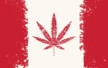 Vector banner for legalize marijuana with hemp leaf on abstract background of canadian flag in grunge style. Natural product made from organic hemp. Smoking weed. Medical cannabis logo