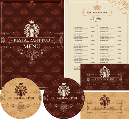 Vector set of elements for design pub restaurant in baroque style with glass of beer, crown and laurel wreath. Menu, price list, stands for drinks and business cards on background with floral pattern Vectores