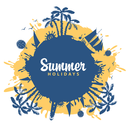 Vector abstract travel banner with palm trees, sailboats and balloons in the form of blue and yellow blots. Summer poster, flyer, invitation or card with the inscription Summer holidays Banco de Imagens - 103705291