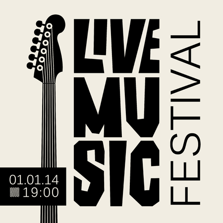 Vector poster or banner for live music festival with neck of acoustic guitar in retro style in black and white colors Stock Illustratie