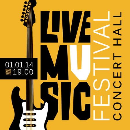 Vector banner or poster for live music festival with acoustic guitar in retro style on black and yellow colors