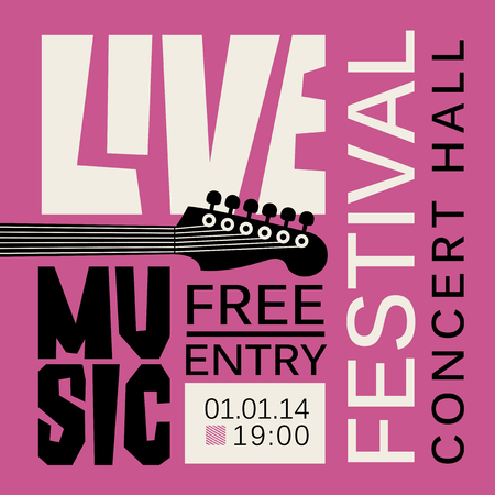 Vector poster or banner for live music festival with neck of acoustic guitar in retro style on purple background Stock Illustratie