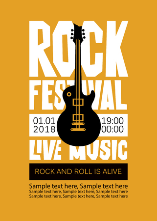 Vector poster or banner for Rock Festival of live music with an electric guitar and place for text. Rock and roll is alive