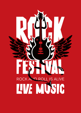 Vector poster or banner for Rock Festival of live music with an electric guitar, wings, fire and devil trident on red background. Rock and roll is alive Ilustração