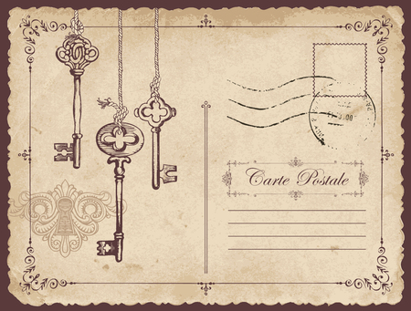 Retro vector postcard with old keys and keyhole, with place for text on old beige background in vintage style with rubber stamp Foto de archivo - 104025855