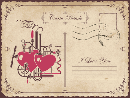 Vintage postcard on the theme of declaration of love with two hearts connected by different mechanisms and pipes. Romantic vector card with love factory and calligraphic inscription I love you