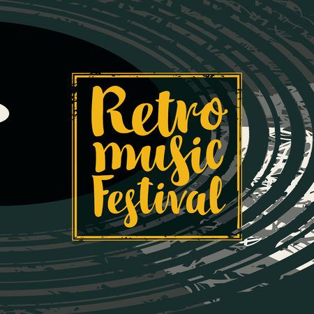 Vector poster for retro music festival with black vinyl record and yellow calligraphy lettering