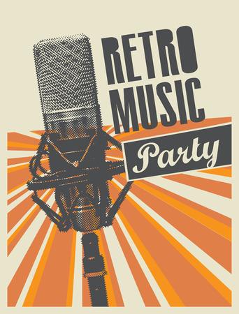 Cartel de vector o pancarta para una fiesta de música retro con un micrófono sobre un fondo con rayos brillantes en estilo retro