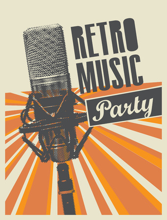 Manifesto di vettore o banner per una festa di musica retrò con un microfono su uno sfondo con raggi luminosi in stile retrò