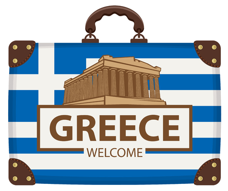 Vector travel banner with suitcase in colors of greek flag with the Acropolis and inscription Greece welcome Illustration