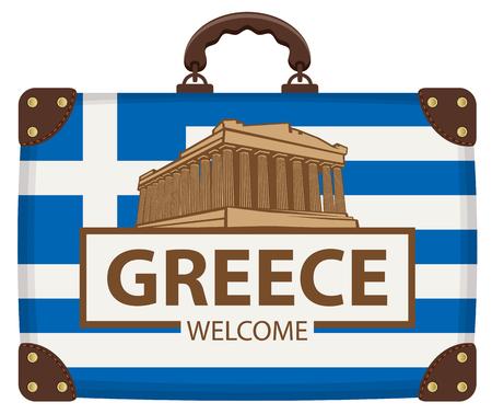 Bandera de viaje de vector con maleta en colores de la bandera griega con la Acrópolis y la inscripción Grecia bienvenido