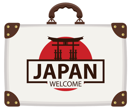 Vector travel banner with suitcase in colors of Japanese flag with the Famous Torii Gate, the ritual gates of Itsukushima Shrine. The inscription Japan welcome Illustration